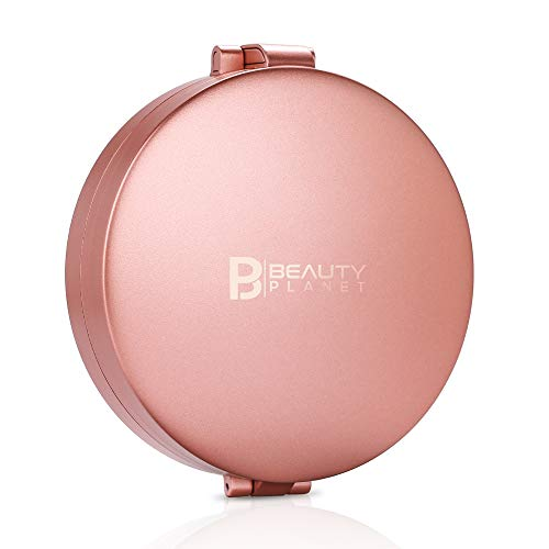 Beauty Planet 20X Magnifying Mirror with Light, Portable 20X/5X/1X Lighted Makeup Mirror,LED Travel Compact Mirror,Handheld Folding Rechargeable Ring Light Mirror (4inches, Rose Gold)