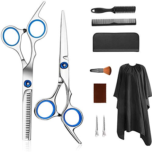 PLESON Professional Hair Cutting Scissors Set 9 PCS Hair Cutting Scissors, Thinning Shears, Hair Comb, Clips, Cape, Hairdressing Scissors Kit, Barber set, Hair Cutting Shears Set