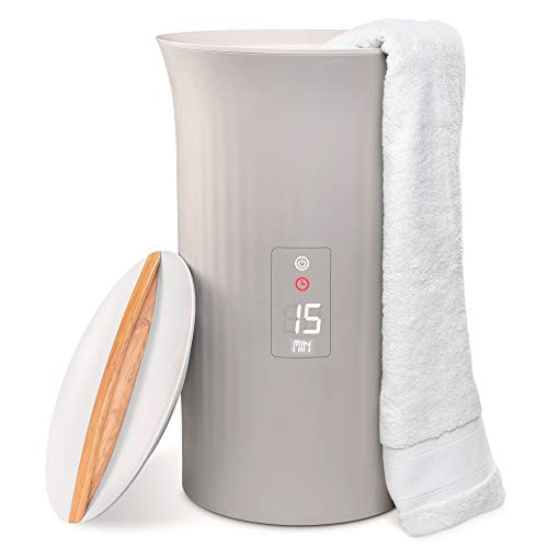 LiveFine Towel Warmer | Large Bucket Style Luxury Heater with LED Display, Adjustable Timer, Auto Shut-Off | Fits Up to Two 40 x 70 Oversized Bath Sheet Towels