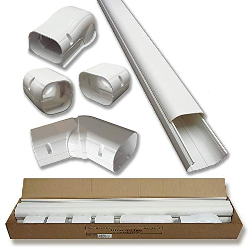 Hide-A-Line 4' 14 Ft Mini split and Central Air Conditioner & Heat Pump Line Set Cover Kit Decorative Tubing Cover