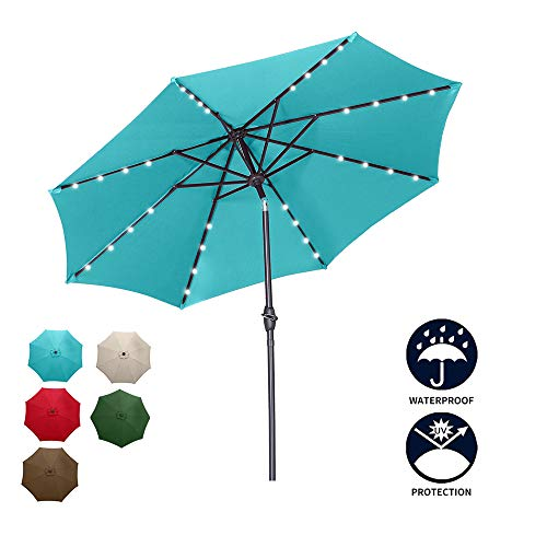 Diophros 9ft Solar Patio Umbrella, 32 LED Lighted Outdoor Market Umbrella with Push Button Tilt and Crack for Outdoor Use Without Base (Blue)