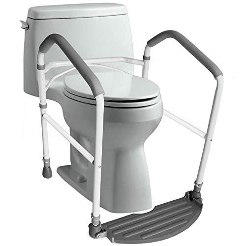 Toilet Safety Frame & Rail - Folding & Portable Bathroom Toilet Safety Rails - Handrail Toilet Bars with Adjustable Height (White)