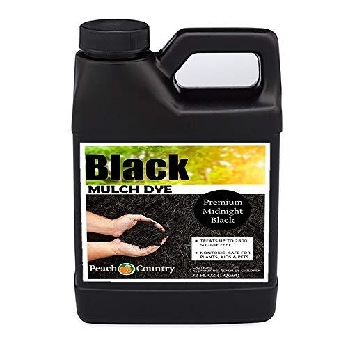 Peach Country Premium Black Mulch Color Concentrate - 2,800 Sq. Ft. - Pure Midnight Black Mulch Dye Spray (1 Quart, Black)