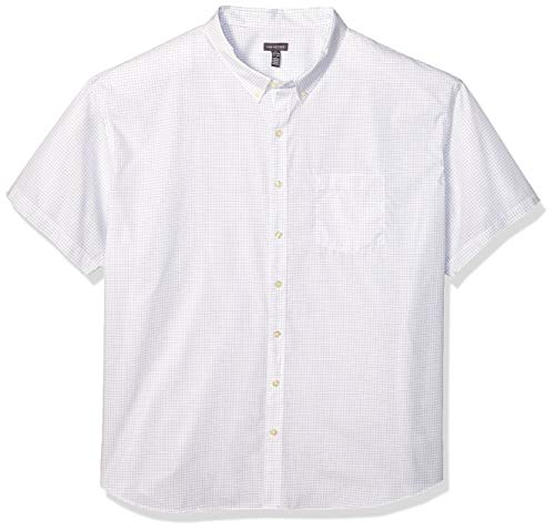 Van Heusen Men's Size Big and Tall Wrinkle Free Short Sleeve Button Down Check Shirt, Bright White, 3X-Large