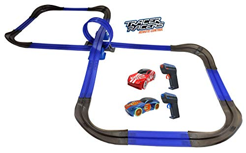Tracer Racers R/C High Speed Remote Control Super 8 Speedway Glow Track Set with Two Cars for Dual Racing, Glow Blue