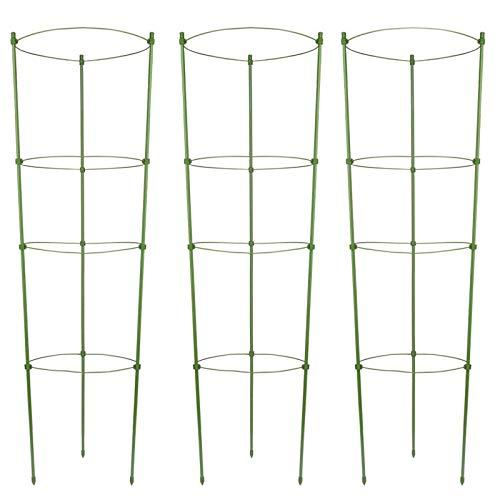 OCEANPAX 3 Pack Plant Support Cages 36 Inches Plant Cages with 4 Adjustable Rings