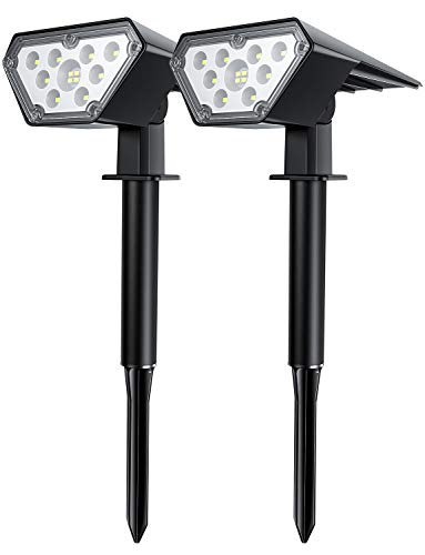 Solar Spot Lights Outdoor Landscape Spotlights Waterproof Solar Powered Wall Light 2-in-1 Wireless Decor Security Landscaping Lights for Yard Garden Driveway Porch Pool Patio - 2 Pack Cold White