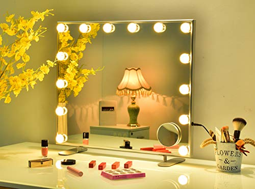 Hansong Large Vanity Mirror with Lights,Hollywood Lighted Makeup Dressing Tabletop Mirror or Wall Mounted Beauty Mirrors with 14 pcs Led Bulbs,Detachable 10X Magnification Spot Cosmetic Mirror
