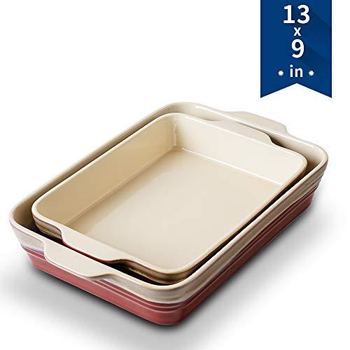 Bakeware Set, KOOV Ceramics Baking Dish Set, Rectangular Lasagna-Pans for Cooking, Cake Dinner, Kitchen, 9 x 13 Inches, Reactive Glaze 2-Piece (Rocky Red)