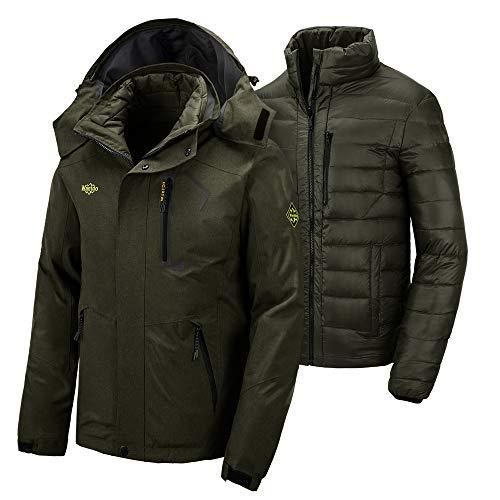 Wantdo Men's 3 in 1 Waterproof Down Parka Coat Winter Ski Raincoat Army Green L