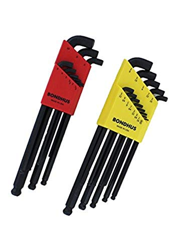 Bondhus 20599 0.050-3/8' & 1.5-10mm Stubby Ball End Hex Key DoublePK