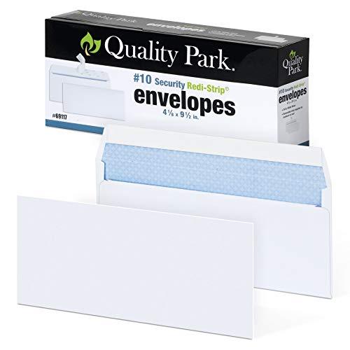 Quality Park #10 Self-Seal Security Envelopes, Security Tint and Pattern, Redi-Strip Closure, 24-lb White Wove, 4-1/8' x 9-1/2', 100/Box (QUA69117)