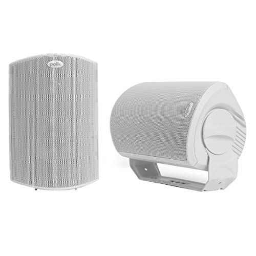 Polk Audio Atrium 6 Outdoor All-Weather Speakers with Bass Reflex Enclosure (Pair, White)   Broad Sound Coverage   Speed-Lock Mounting System