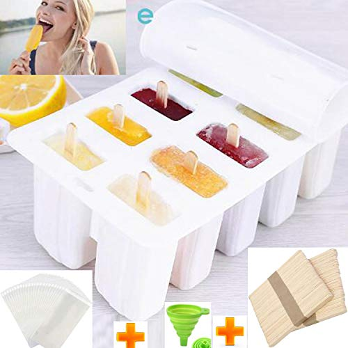 Waybesty 10 Cavities Homemade Popsicle Molds Shapes, Food Grade Silicone Frozen Ice Popsicle Maker-BPA Free, Contain 100 Popsicle Sticks, 100 Popsicle Bags and Funnel (10 Cavities, White)