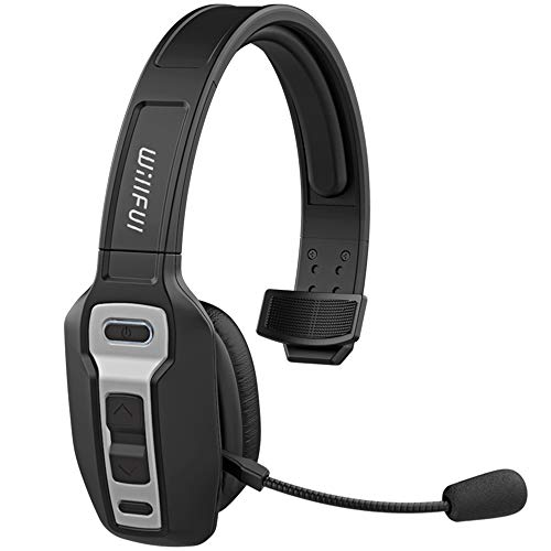 Bluetooth Headset, Willful BT 5.0 Wireless Headset with Microphone (Flexible Noise Cancelling Mic) Mute Button 30Hrs Clear Talk Time Pro for Car Truck Driver Business Home Office Cell Phones PC