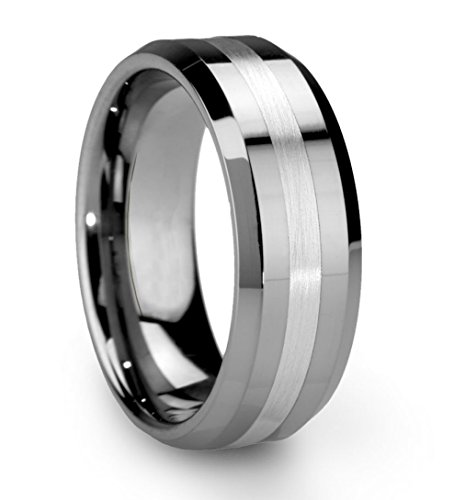 King Will Classic Men's 8mm Tungsten Ring One Tone Matte Finish Brushed Center Wedding Band Beveled Edge(10.5)