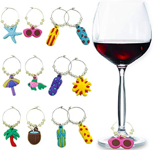 Wine Glass Charms Tags, Wine Drinker Gift set of 12, Champagne Cocktail Drink Markers (red)
