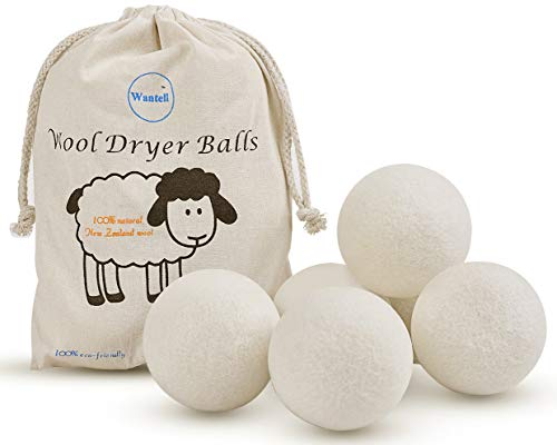 Wool Dryer Balls 6-Pack XL Laundry Dryer Balls Reusable Natural Fabric Softener New Zealand Organic Wool Handmade Reduce Wrinkles & Shorten Drying Time by WANTELL (White, XL)
