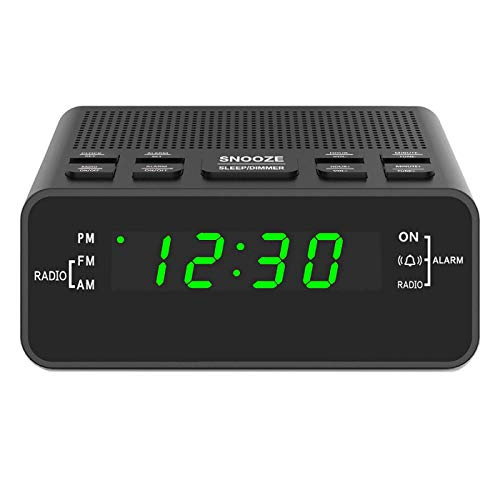 Digital Alarm Clok Radio, Alarm Clocks for Bedrooms with AM/FM Radio, Sleep Timer, Dimmer, Easy Snooze, Battery Backup - 0.6' Green LED Digits