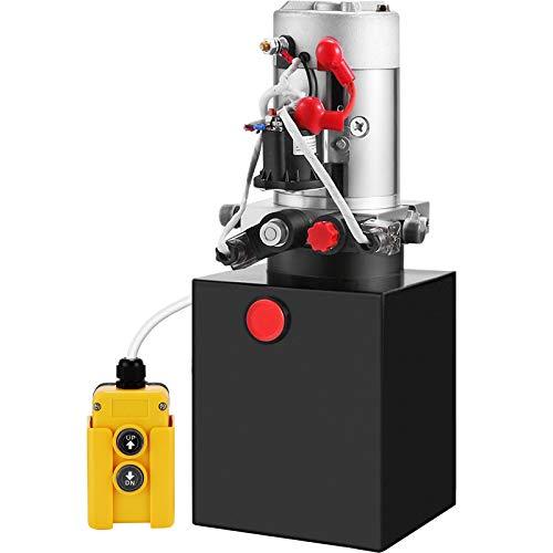 Mophorn Hydraulic Pump 4 Quart Hydraulic Power Unit Double Acting Hydraulic Pump Unit with Steel Oil Tank 12V DC Hydraulic Pump for Dump Trailer Car Lifting (Steel,Double Acting)