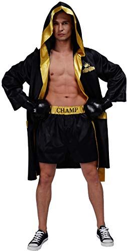 Adult Men Boxing Costume Heavyweight World Champion Boxer Includes Robe and Shorts (Black)