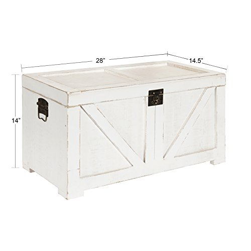 Kate and Laurel Cates Farmhouse Decorative Wood Trunk 14x27.5x14 White