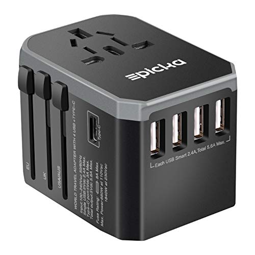 EPICKA Universal Travel Adapter One International Wall Charger AC Plug Adaptor with 5.6A Smart Power and and 3.0A USB Type-C for USA EU UK AUS