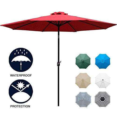Sunnyglade 9' Patio Umbrella Outdoor Table Umbrella with 8 Sturdy Ribs (Red)