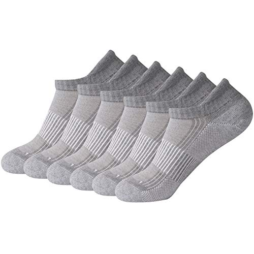 Running Socks, FOOTPLUS Ankle Copper Arch Support Cushined Sole Golf Socks, 6 Pairs Light Gray, Large