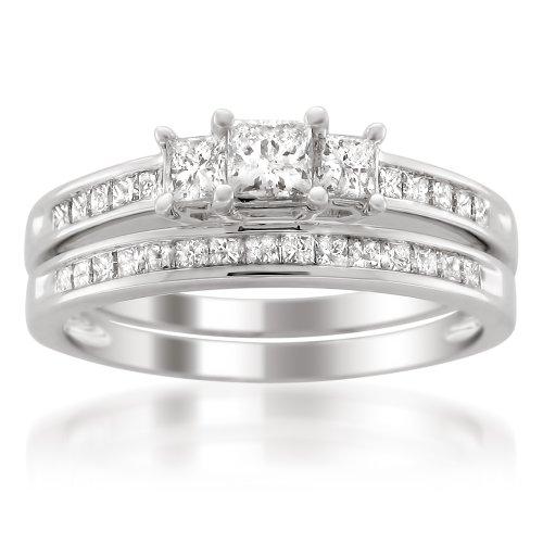 Platinum Princess-cut Three-Stone Diamond Bridal Set Wedding Ring (1 cttw, H-I, I1-I2), Size 7.5