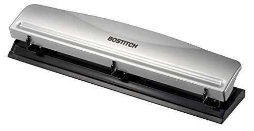 Bostitch Office HP12 3 Hole Punch, 12 Sheet Capacity, Metal,Silver
