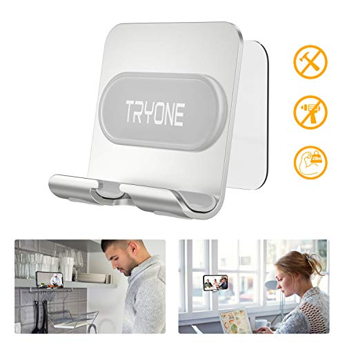 Wall Mount Phone Holder - Tryone Wall Phone Holder Mount with 2Pcs Adhesive Strip,Update Version Wall Phone Mount for Bathroom,Kitchen,Office and More,Compatible with All Phones and Mini Tablet