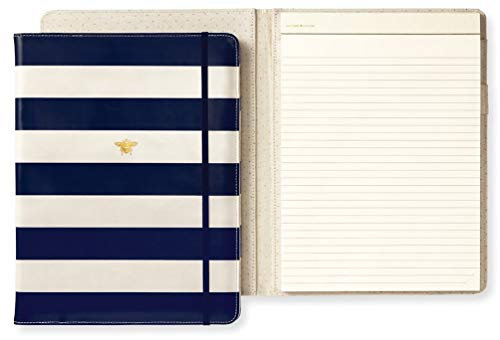 Kate Spade New York Women's Professional Folio with Lined Notepad, Interior Pocket, and Pen Loop, Navy Stripe