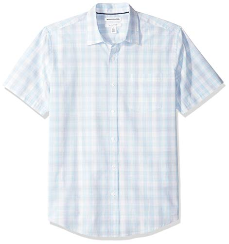 Amazon Essentials Men's Regular-Fit Short-Sleeve Plaid Casual Poplin Shirt, Light Blue/White, Large