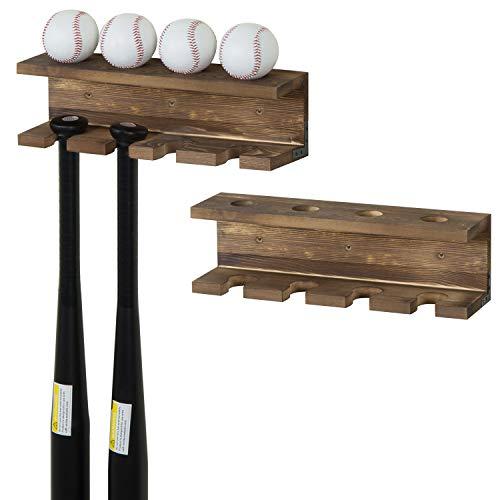 MyGift Wall-Mounted Burnt Wood Baseball Bat Rack and Ball Storage Shelf, Set of 2
