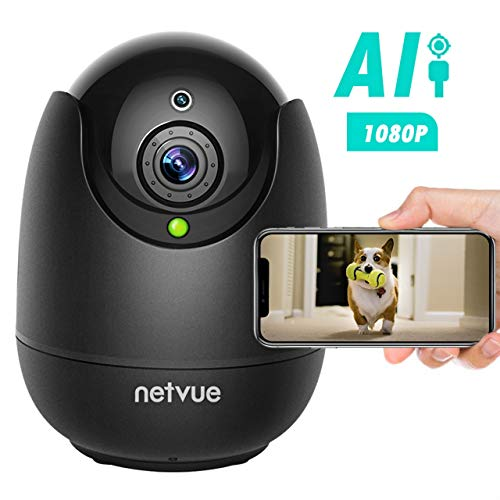Dog Camera-1080P FHD Pet Camera with Phone App, Pan/Tilt/ Zoom Puppy Camera with 2-Way Audio, AI Human Detection, Night Vision Cloud Storage / TF Card Work with Alexa Wireless Security Camera for Home