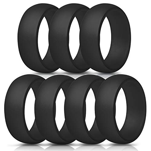 ThunderFit Silicone Wedding Ring for Men - 8.7mm Wide - 2.5mm Thick (Black, Black, Black, Black, Black, Black, Black - Size 7.5-8 (18.2mm))