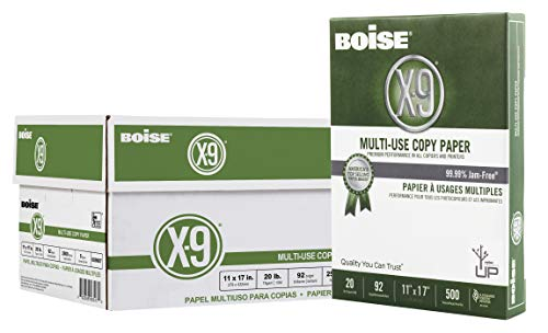 Boise X-9 Multi-Use Copy Paper, 11' x 17' Ledger, 92 Bright White, 20 lb, 5 Ream Carton (2,500 Sheets)