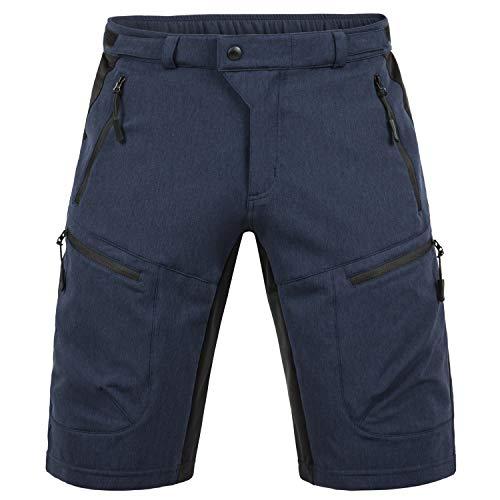Hiauspor Mens MTB Shorts Mountain Bike Shorts Water Repellent Baggy Half Pants with Pockets for Cycling Riding Navy