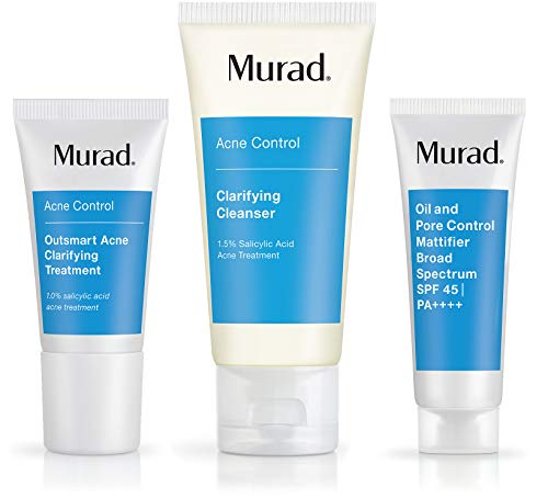 Murad Get Over Zit Kit - Acne Control Regimen - Clarifying Cleanser, Treatment and SPF - 3 Trial Size Skin Care Products for Blemish and Breakout Prone Skin