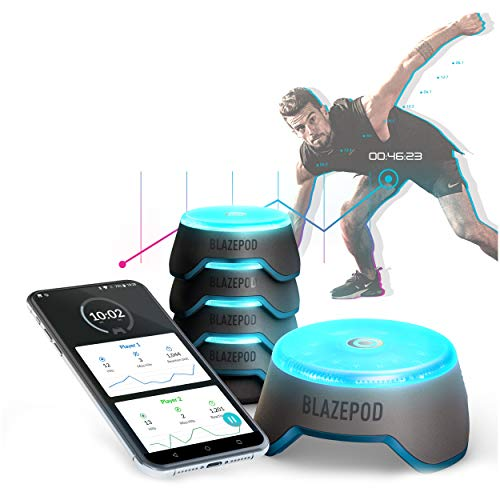 BlazePod Flash Reflex Lights and Reaction Training System, Challenging Activities to Improve Speed and Agility - for Athletes, Martial Arts, Soccer, Boxing, Basketball, Coaches and Trainer (4 Pods)
