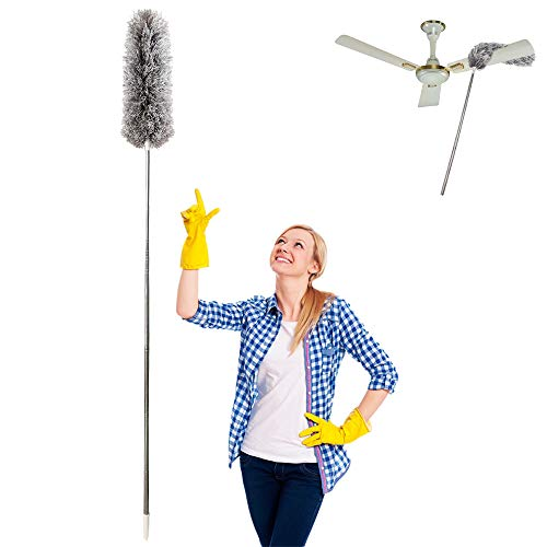 Microfiber Duster for Cleaning with Extension PoleReaches 100',LECAMEBOR Flexible and Extendable Duster for Cleaning Ceiling Fan/Furniture/Keyboard/Cobweb