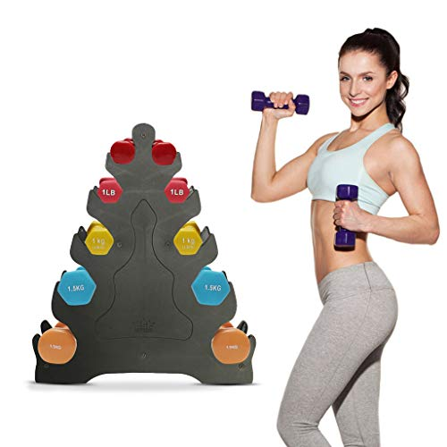 Junesummer Dumbbell Rack, Compact Dumbbell Bracket Dumbbell Holder Home Gym Exercise Weight Tower, 3/5 Layer Dumbbells Rack Hand Weights Sets Holder (5 Tier)