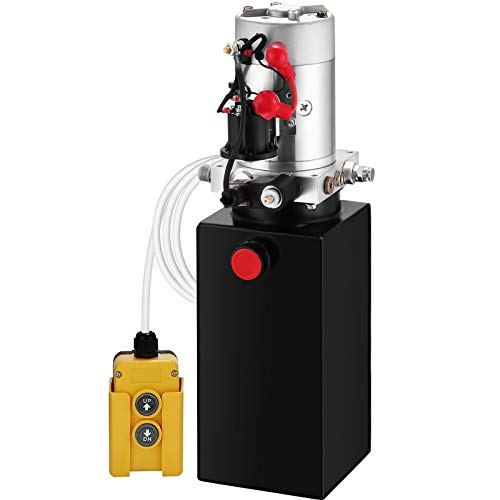 Mophorn Hydraulic Power Unit 6 Quart Hydraulic Pump Single Acting 3200 PSI Max Power Unit for Dump Trailer Car Lifting 12V DC (Steel, 6 Quart/Single Acting)
