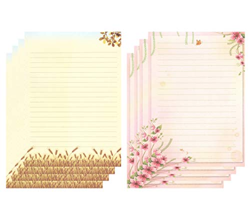 IMagicoo 50 Cute Design Writing Stationery Lined Paper Pad Letter Set, 2 Different Style (Style-1)
