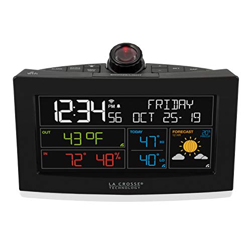 La Crosse Technology C82929-INT WiFi Projection Alarm Clock with AccuWeather Forecast