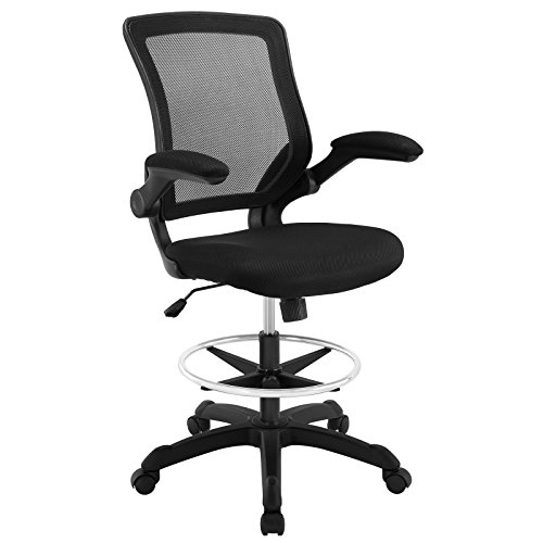 Modway Veer Drafting Chair - Reception Desk Chair - Flip-Up Arm Drafting Chair in Black