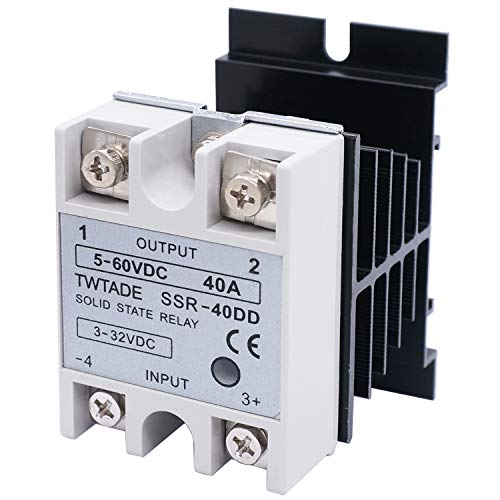 TWTADE SSR-40 DD 40A DC 3-32V to DC 5-60V SSR Solid State Relay + Heat Sink