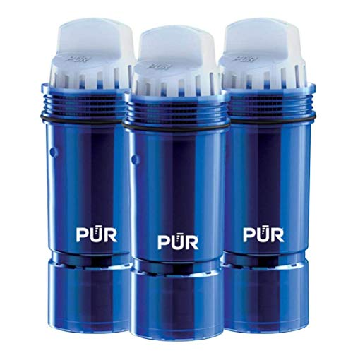 PUR Pitcher Lead Reduction 3 MineralClear Faucet Water Filter Replacement for Filtration Systems, 3 Pack, Blue