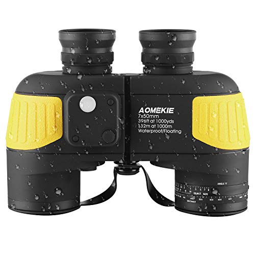 AOMEKIE Marine Binoculars for Adults 7x50 with Low Light Night Vision Compass rangefinder Binoculars Waterproof Fog Proof BAK4 Prism for Navigation Boating Birdwatching Hunting